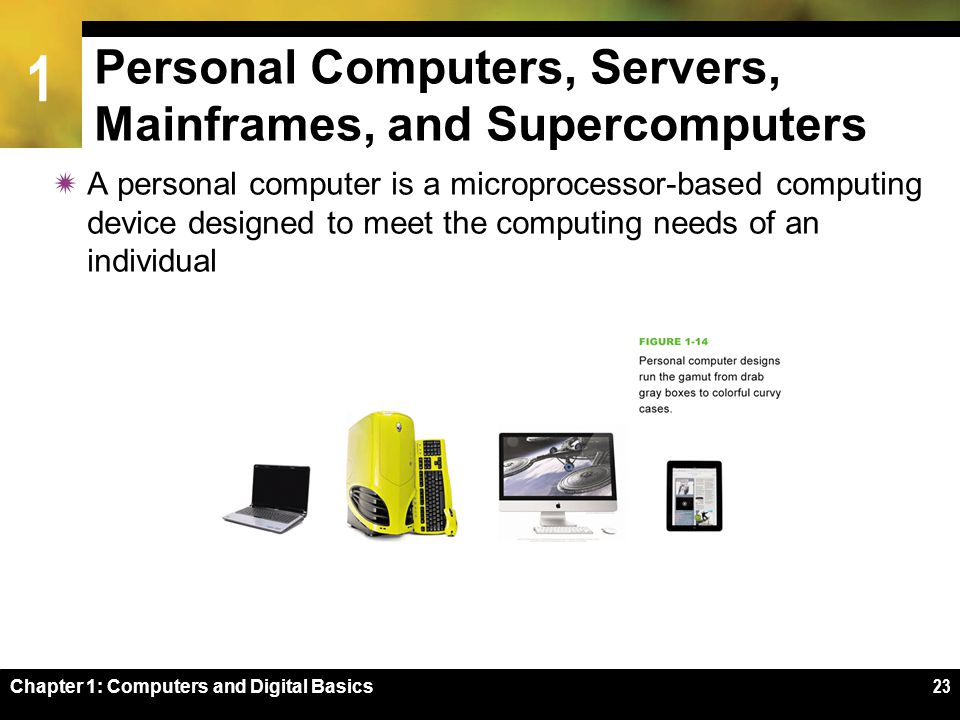 1 Chapter 1: Computers and Digital Basics23 Personal Computers, Servers, Mainframes, and Supercomputers  A personal computer is a microprocessor-based computing device designed to meet the computing needs of an individual