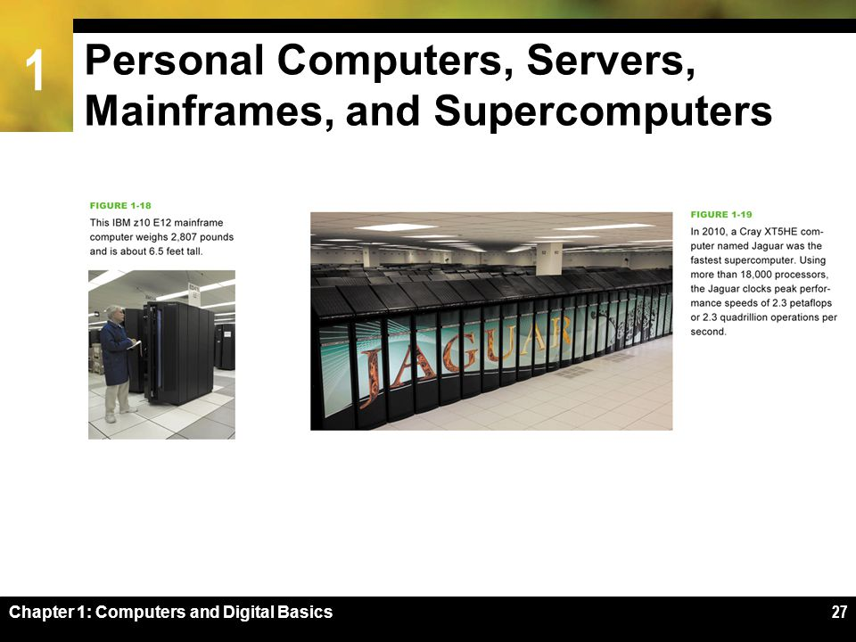 1 Chapter 1: Computers and Digital Basics27 Personal Computers, Servers, Mainframes, and Supercomputers