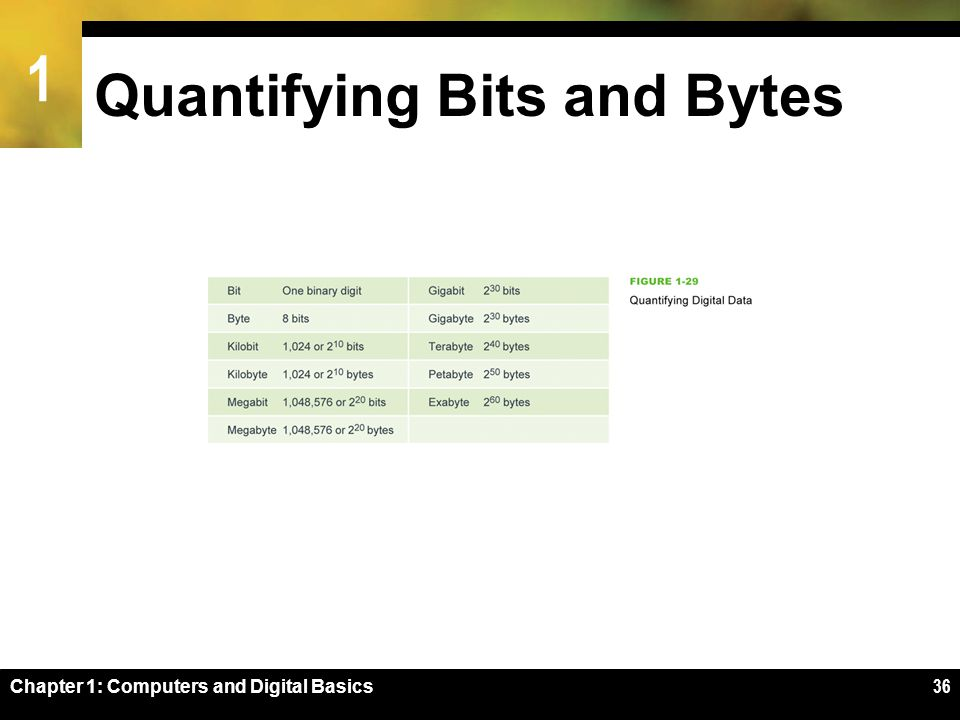 1 Chapter 1: Computers and Digital Basics36 Quantifying Bits and Bytes