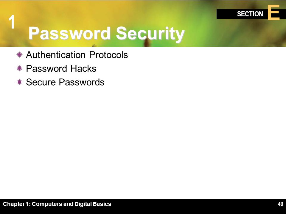 1 SECTION E Chapter 1: Computers and Digital Basics49 Password Security  Authentication Protocols  Password Hacks  Secure Passwords
