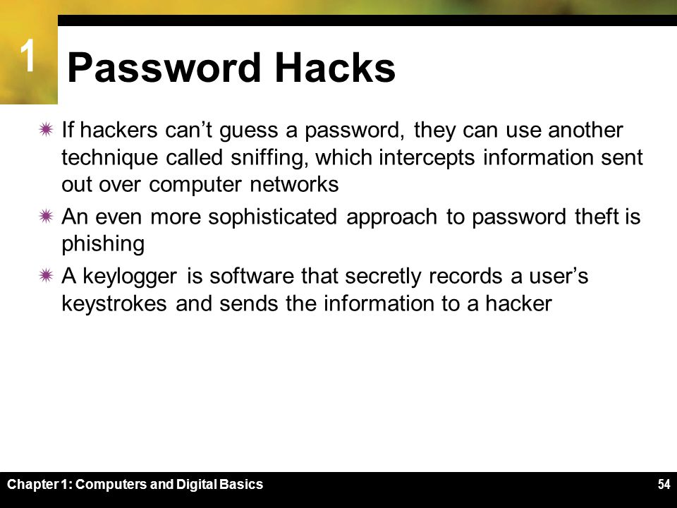 1 Chapter 1: Computers and Digital Basics54 Password Hacks  If hackers can't guess a password, they can use another technique called sniffing, which intercepts information sent out over computer networks  An even more sophisticated approach to password theft is phishing  A keylogger is software that secretly records a user's keystrokes and sends the information to a hacker