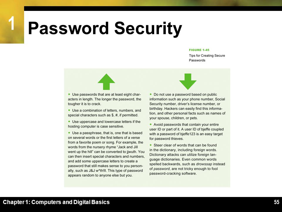 1 Password Security Chapter 1: Computers and Digital Basics55
