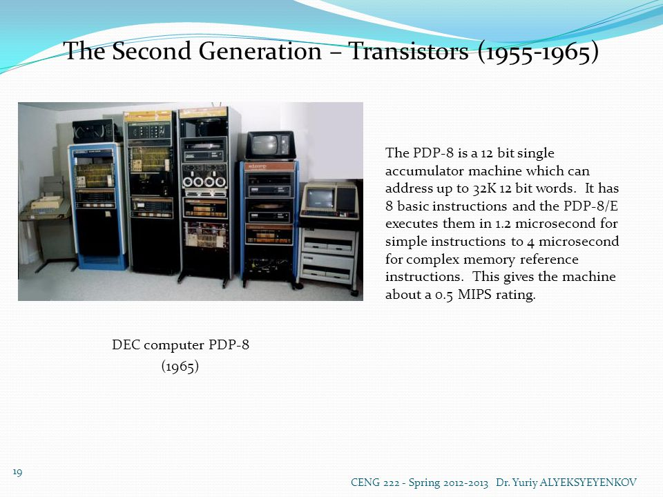 The Second Generation – Transistors (1955-1965) DEC computer PDP-8 (1965) The PDP-8 is a 12 bit single accumulator machine which can address up to 32K 12 bit words.
