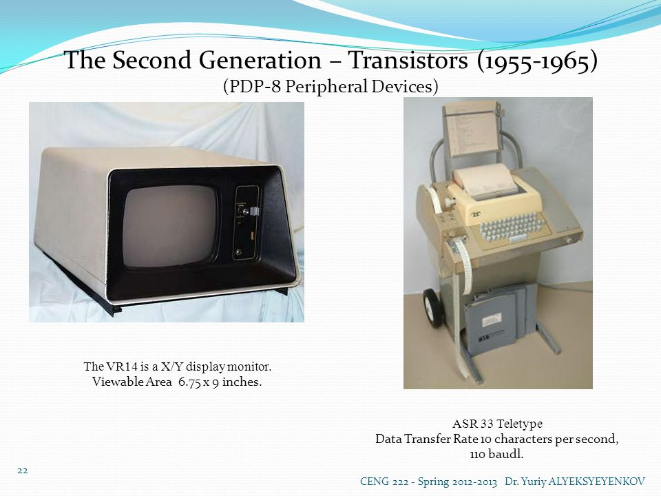 The Second Generation – Transistors (1955-1965) (PDP-8 Peripheral Devices) The VR14 is a X/Y display monitor.