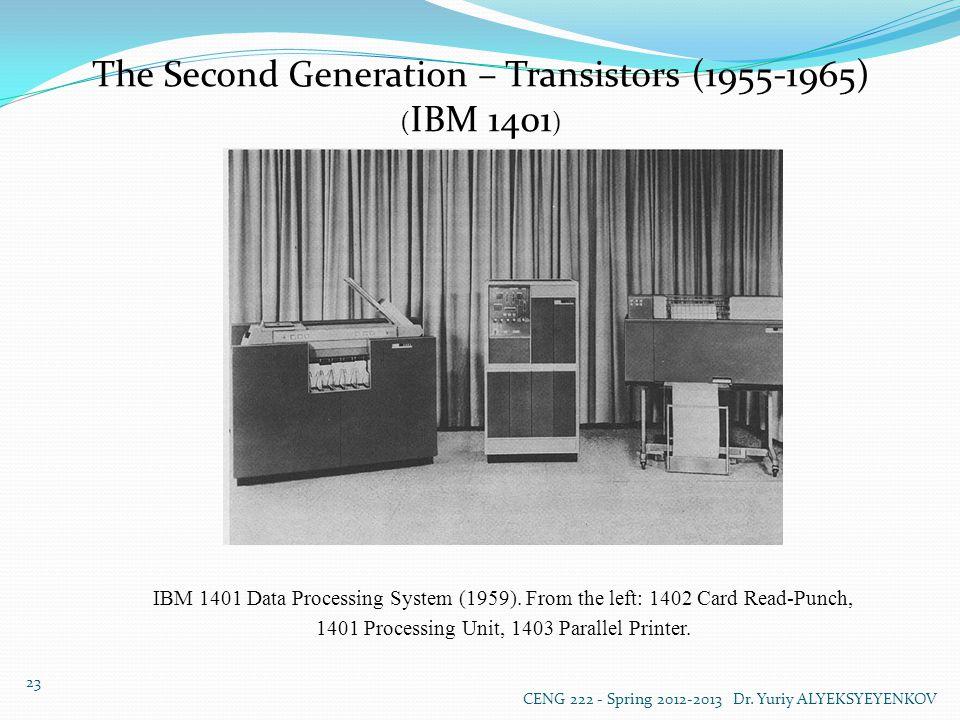 The Second Generation – Transistors (1955-1965) ( IBM 1401 ) IBM 1401 Data Processing System (1959).