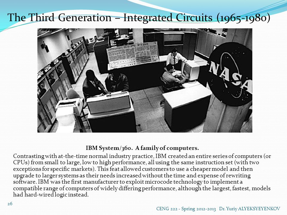 The Third Generation – Integrated Circuits (1965-1980) IBM System/360.