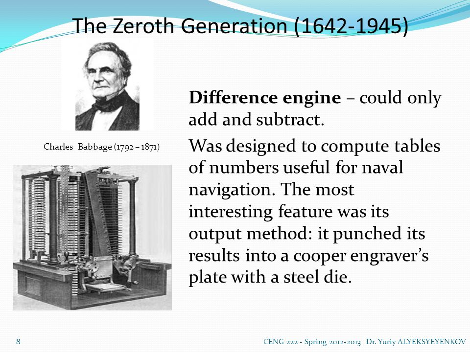 The Zeroth Generation (1642-1945) Analitycal Engine and Punch Cards The mill could accept operands from the store, then process them, and finally return the result to the store.