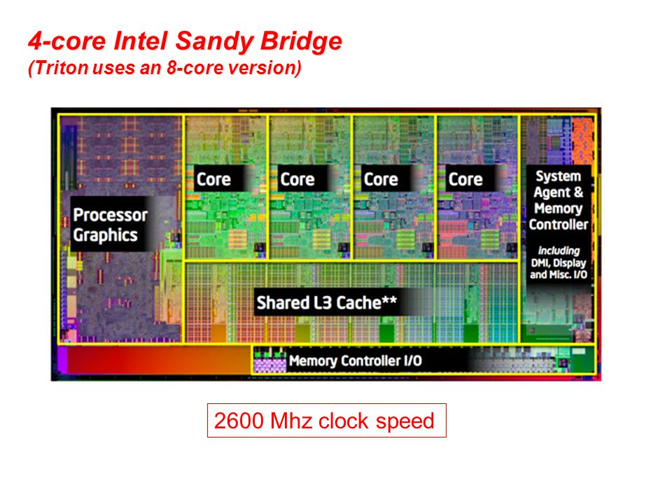 4-core Intel Sandy Bridge (Triton uses an 8-core version) 2600 Mhz clock speed
