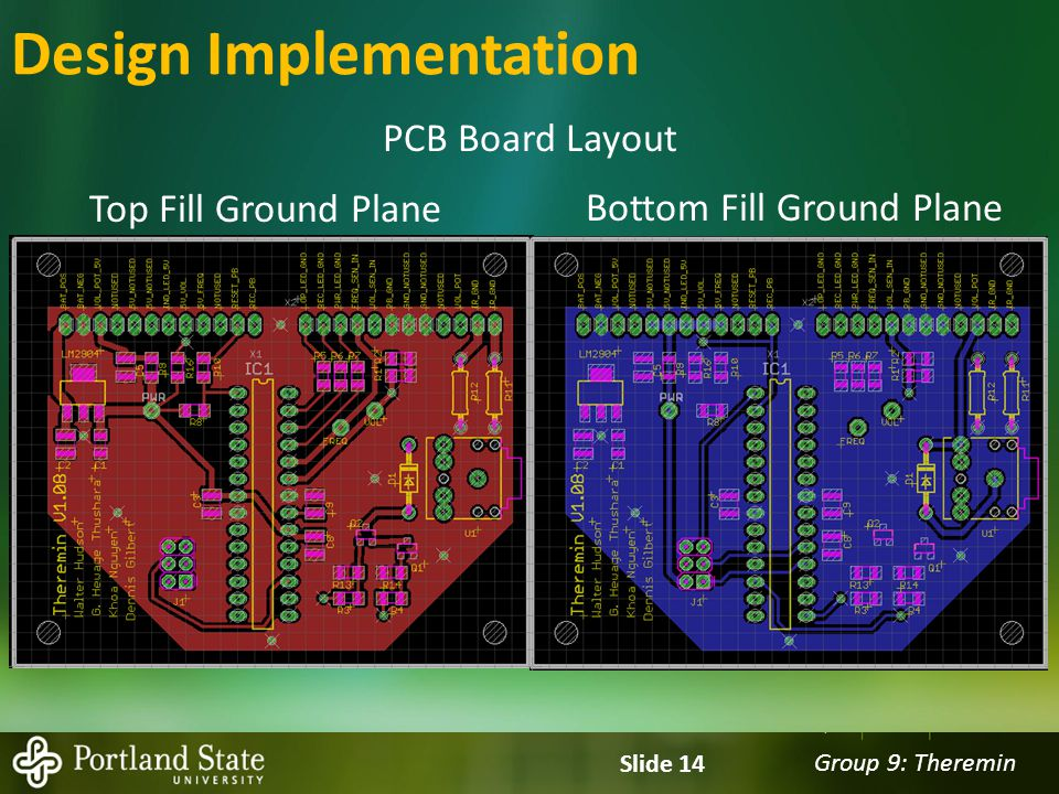 Group 9: Theremin Slide 14 Design Implementation PCB Board Layout Top Fill Ground Plane Bottom Fill Ground Plane