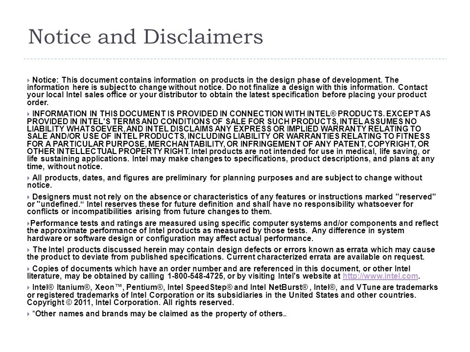 Notice and Disclaimers  Notice: This document contains information on products in the design phase of development. The information here is subject to