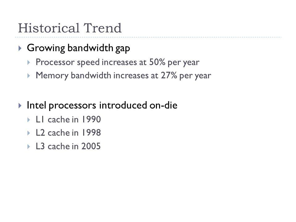 Historical Trend  Growing bandwidth gap  Processor speed increases at 50% per year  Memory bandwidth increases at 27% per year  Intel processors introduced on-die  L1 cache in 1990  L2 cache in 1998  L3 cache in 2005