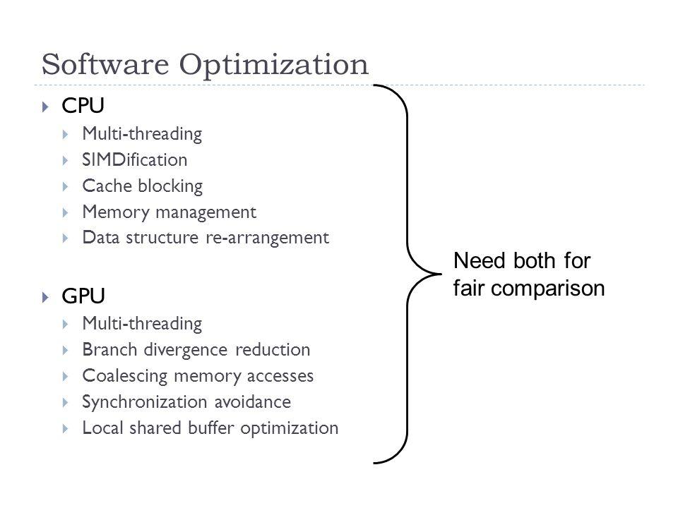 Software Optimization  CPU  Multi-threading  SIMDification  Cache blocking  Memory management  Data structure re-arrangement  GPU  Multi-threa
