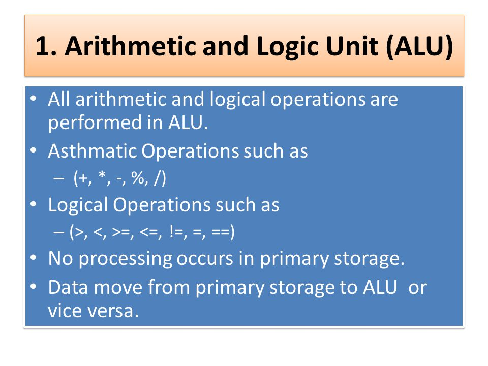 1. Arithmetic and Logic Unit (ALU) All arithmetic and logical operations are performed in ALU. Asthmatic Operations such as – (+, *, -, %, /) Logical