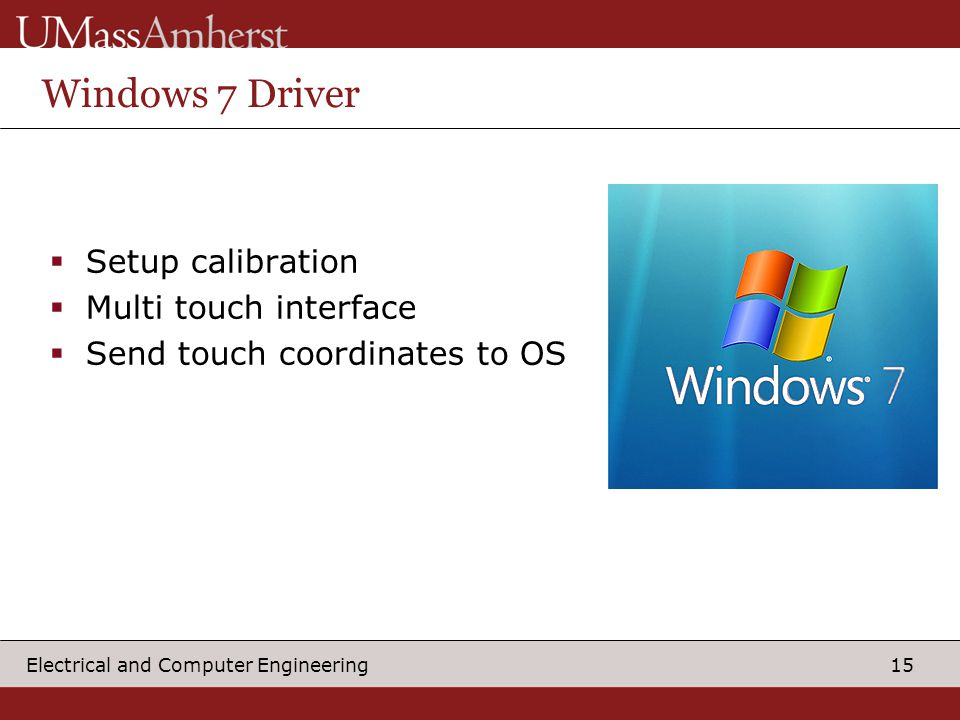 15 Electrical and Computer Engineering Windows 7 Driver  Setup calibration  Multi touch interface  Send touch coordinates to OS