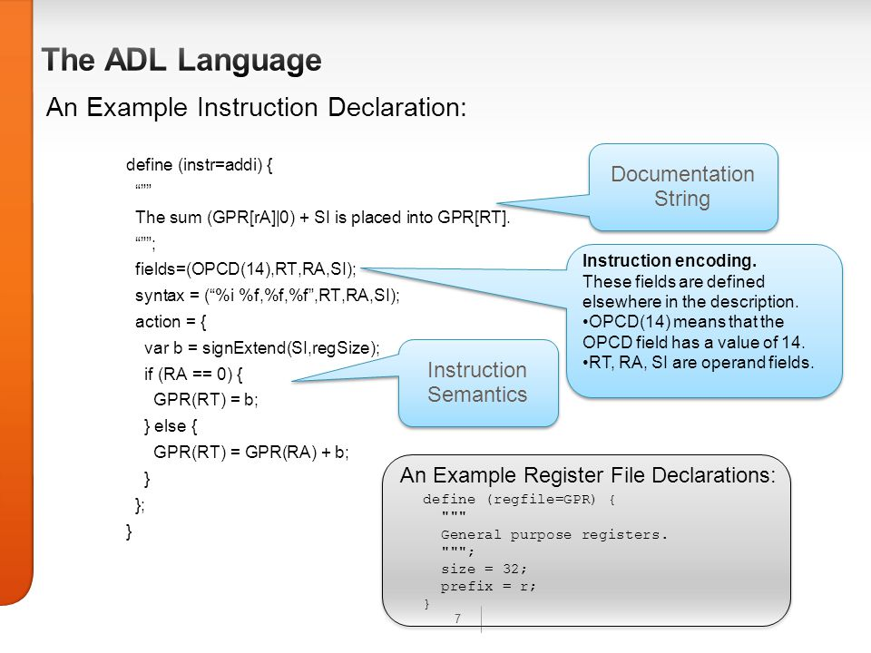 7 An Example Instruction Declaration: define (instr=addi) { The sum (GPR[rA]|0) + SI is placed into GPR[RT].