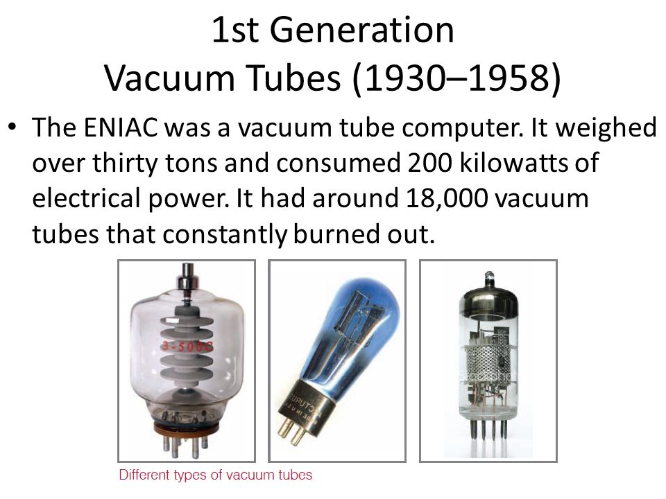 1st Generation Vacuum Tubes (1930–1958) The ENIAC was a vacuum tube computer. It weighed over thirty tons and consumed 200 kilowatts of electrical pow
