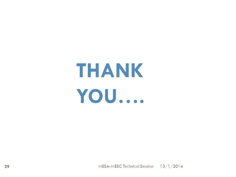 THANK YOU…. 13/1/2014 29 MESA-MESC Technical Session