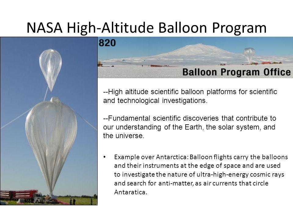 NASA High-Altitude Balloon Program --High altitude scientific balloon platforms for scientific and technological investigations.