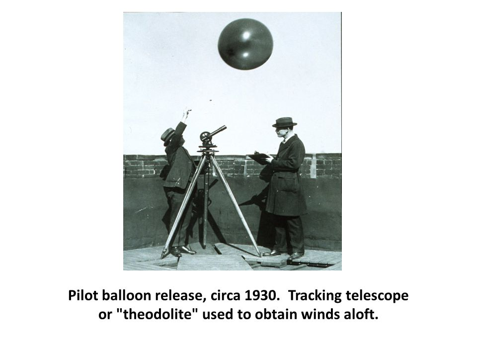 Pilot balloon release, circa 1930. Tracking telescope or theodolite used to obtain winds aloft.