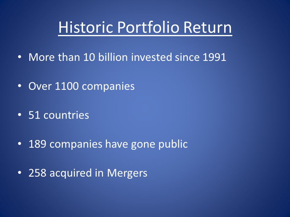 Historic Portfolio Return More than 10 billion invested since 1991 Over 1100 companies 51 countries 189 companies have gone public 258 acquired in Mer