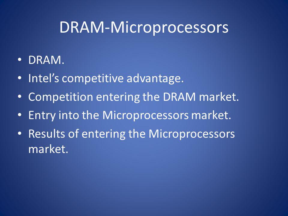 DRAM-Microprocessors DRAM. Intel's competitive advantage. Competition entering the DRAM market. Entry into the Microprocessors market. Results of ente