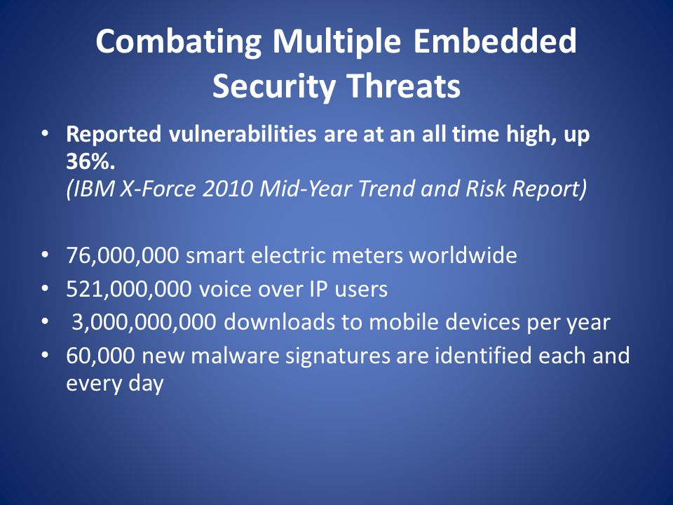 Combating Multiple Embedded Security Threats Reported vulnerabilities are at an all time high, up 36%.