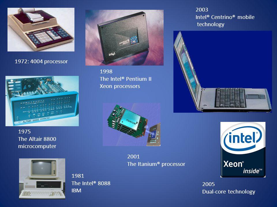 1972: 4004 processor 1975 The Altair 8800 microcomputer 1981 The Intel® 8088 IBM 1998 The Intel® Pentium II Xeon processors 2001 The Itanium® processo