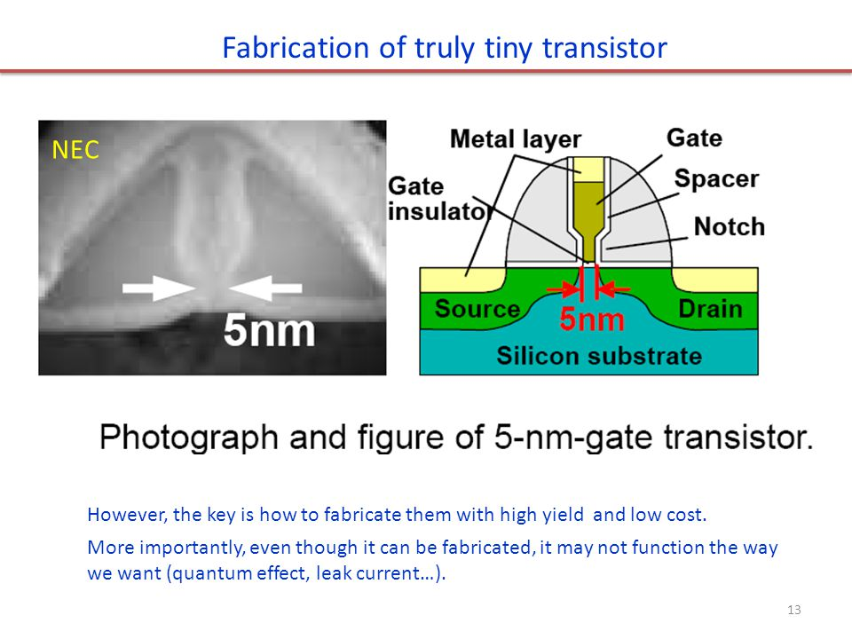 NEC Fabrication of truly tiny transistor However, the key is how to fabricate them with high yield and low cost. More importantly, even though it can