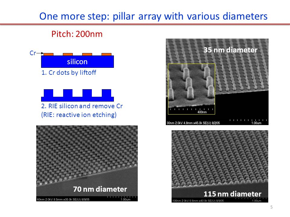 115 nm diameter70 nm diameter 35 nm diameter One more step: pillar array with various diameters silicon 1. Cr dots by liftoff 2. RIE silicon and remov