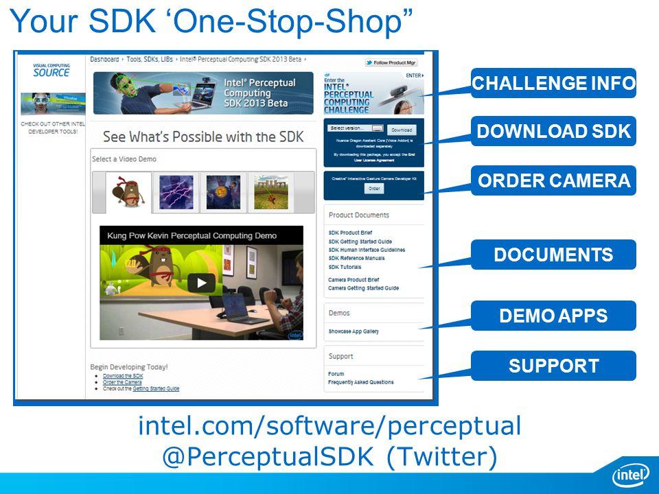 Your SDK 'One-Stop-Shop intel.com/software/perceptual @PerceptualSDK (Twitter) CHALLENGE INFO DOWNLOAD SDK ORDER CAMERA DOCUMENTS DEMO APPS SUPPORT