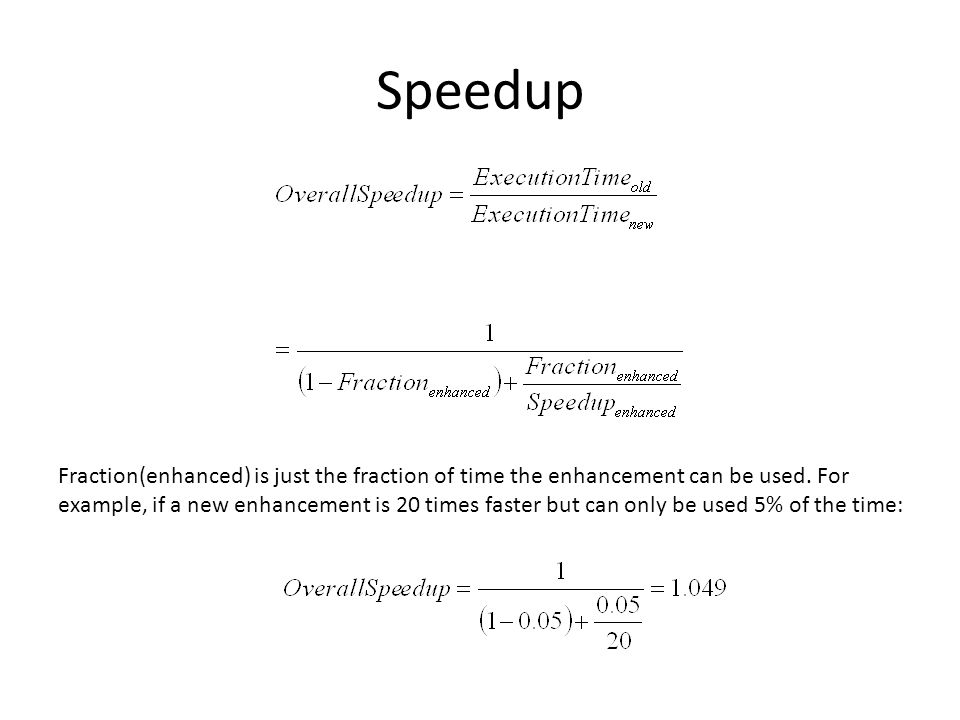 Speedup Fraction(enhanced) is just the fraction of time the enhancement can be used.