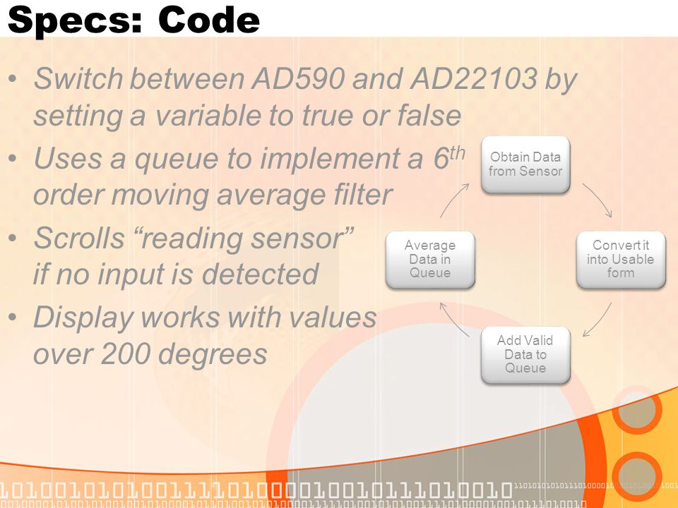 Specs: Code Switch between AD590 and AD22103 by setting a variable to true or false Uses a queue to implement a 6 th order moving average filter Scrolls reading sensor if no input is detected Display works with values over 200 degrees Obtain Data from Sensor Convert it into Usable form Add Valid Data to Queue Average Data in Queue