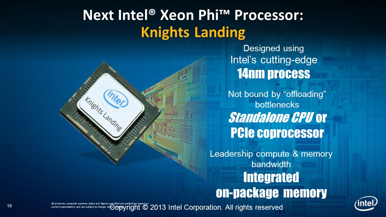 Copyright © 2013 Intel Corporation. All rights reserved Next Intel® Xeon Phi™ Processor: Knights Landing All products, computer systems, dates and fig