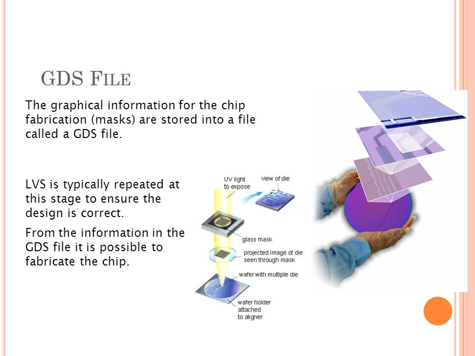 GDS F ILE The graphical information for the chip fabrication (masks) are stored into a file called a GDS file.