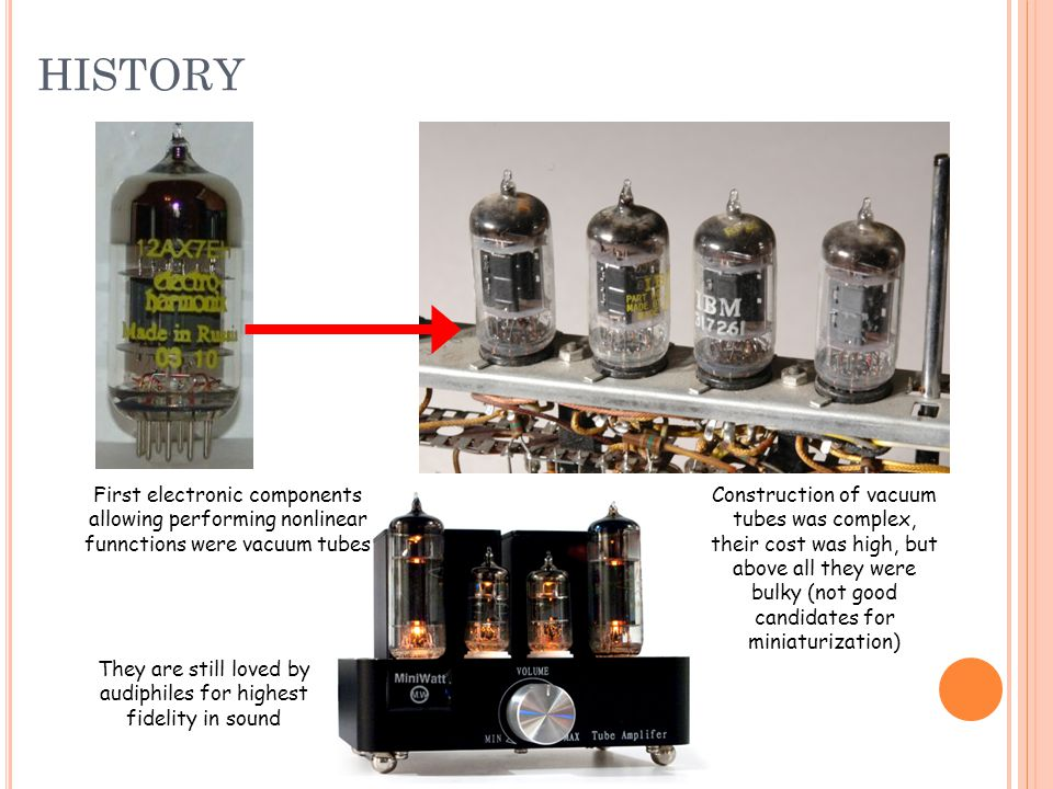 First electronic components allowing performing nonlinear funnctions were vacuum tubes Construction of vacuum tubes was complex, their cost was high, but above all they were bulky (not good candidates for miniaturization) They are still loved by audiphiles for highest fidelity in sound HISTORY