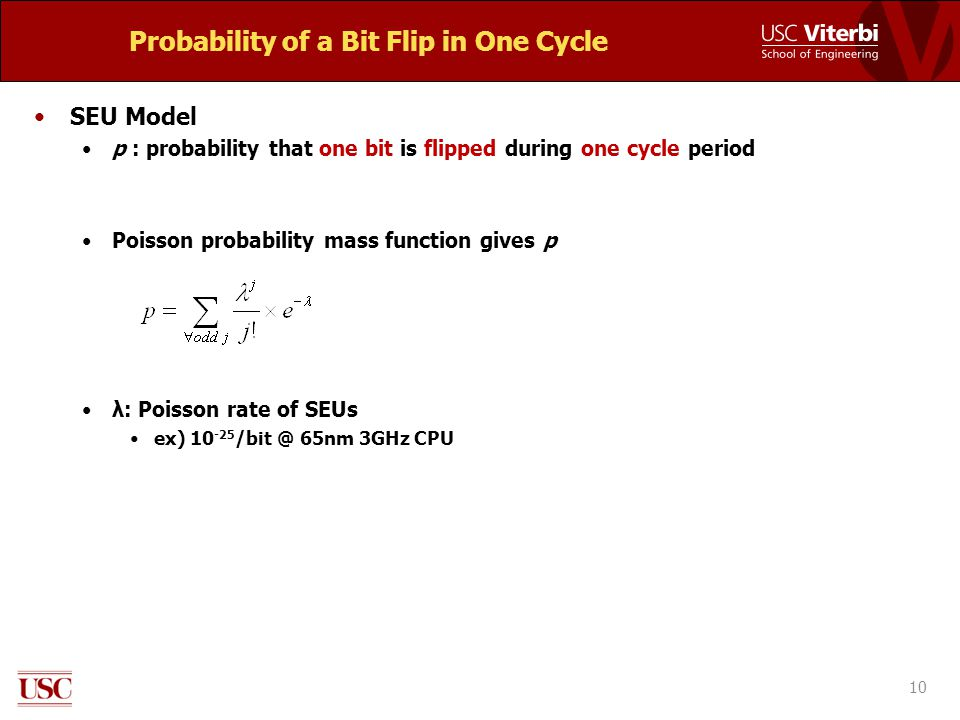Probability of a Bit Flip in One Cycle SEU Model p : probability that one bit is flipped during one cycle period Poisson probability mass function gives p λ: Poisson rate of SEUs ex) 10 -25 /bit @ 65nm 3GHz CPU 10