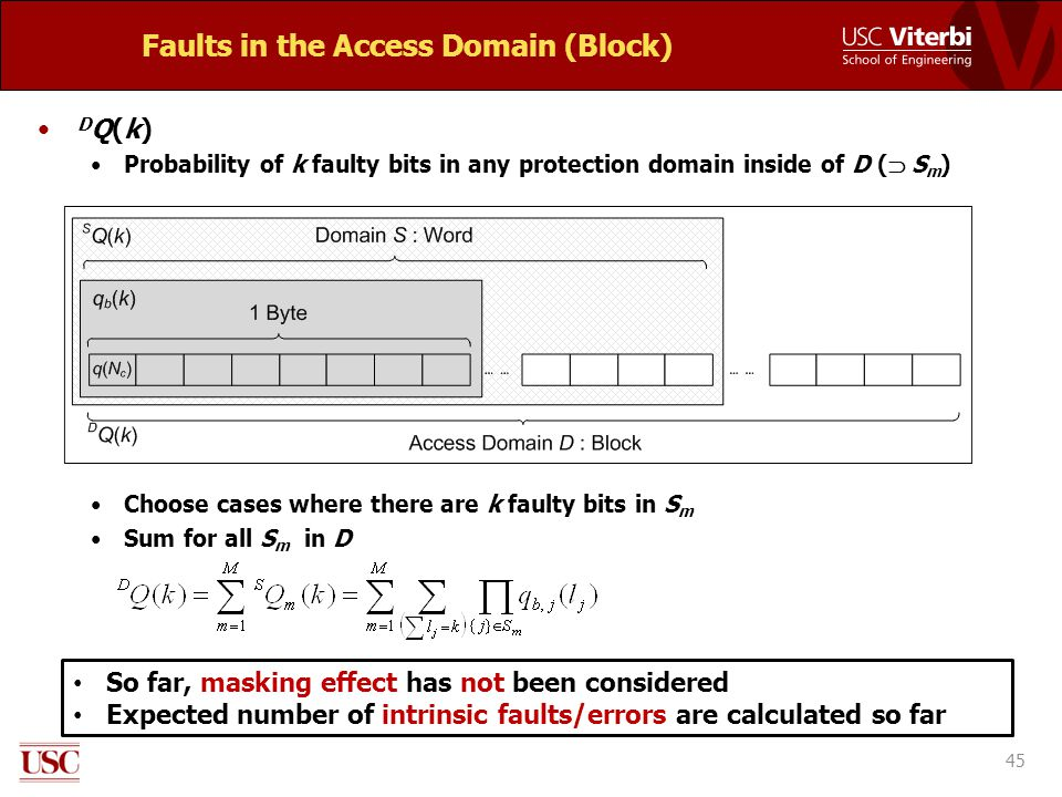 Faults in the Access Domain (Block) D Q(k) Probability of k faulty bits in any protection domain inside of D (  S m ) Choose cases where there are k faulty bits in S m Sum for all S m in D 45 So far, masking effect has not been considered Expected number of intrinsic faults/errors are calculated so far