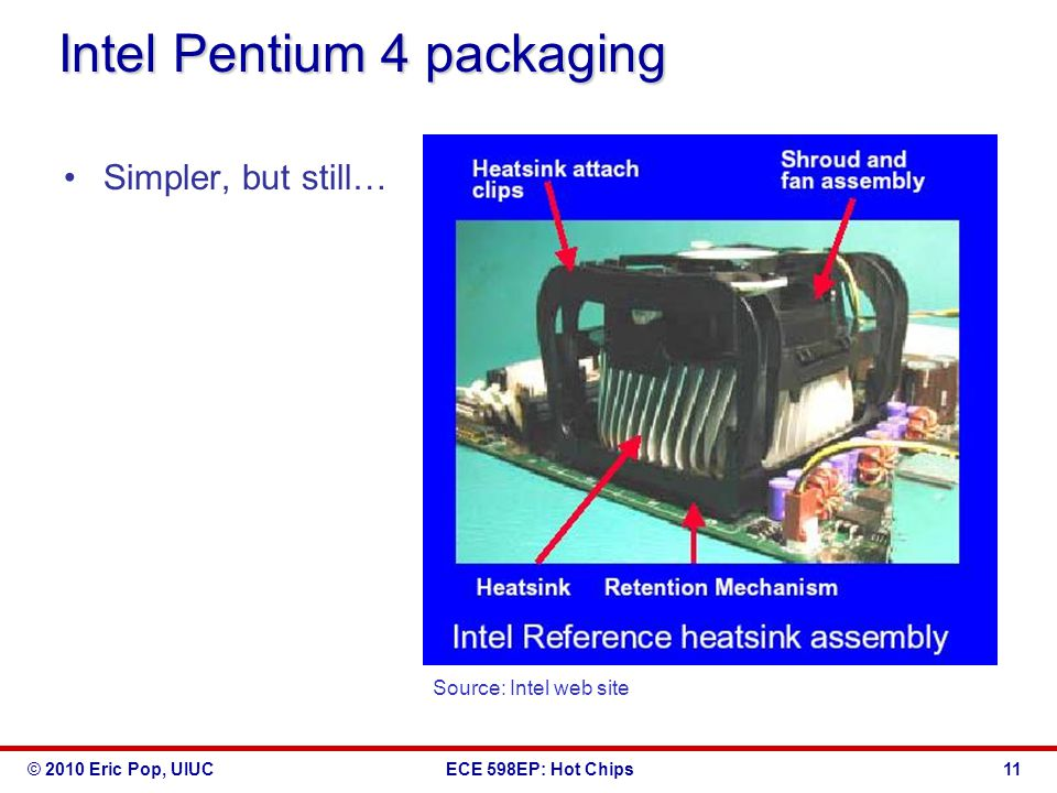 © 2010 Eric Pop, UIUCECE 598EP: Hot Chips Intel Pentium 4 packaging Simpler, but still… Source: Intel web site 11