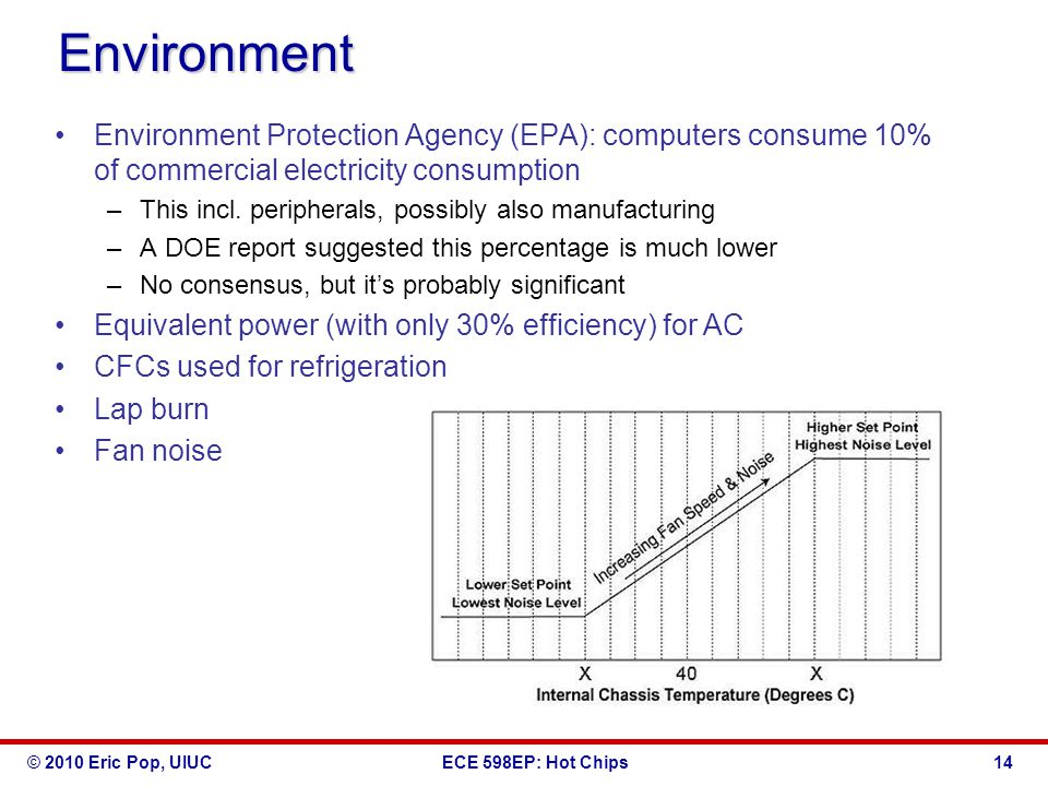 © 2010 Eric Pop, UIUCECE 598EP: Hot Chips Environment Environment Protection Agency (EPA): computers consume 10% of commercial electricity consumption –This incl.