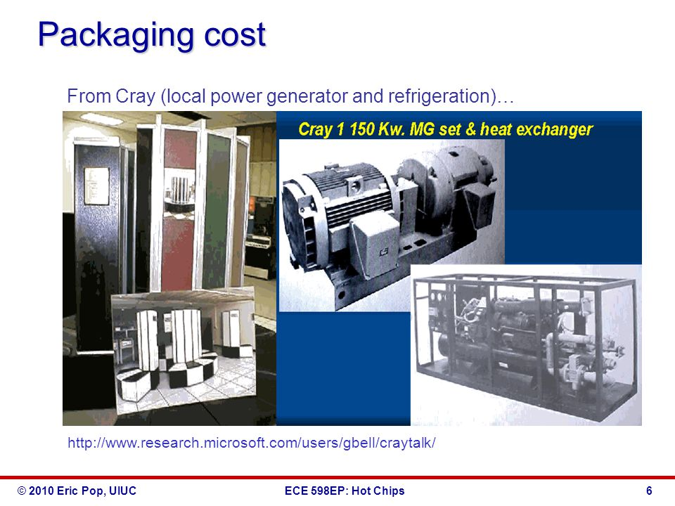 © 2010 Eric Pop, UIUCECE 598EP: Hot Chips Packaging cost From Cray (local power generator and refrigeration)… http://www.research.microsoft.com/users/gbell/craytalk/ 6