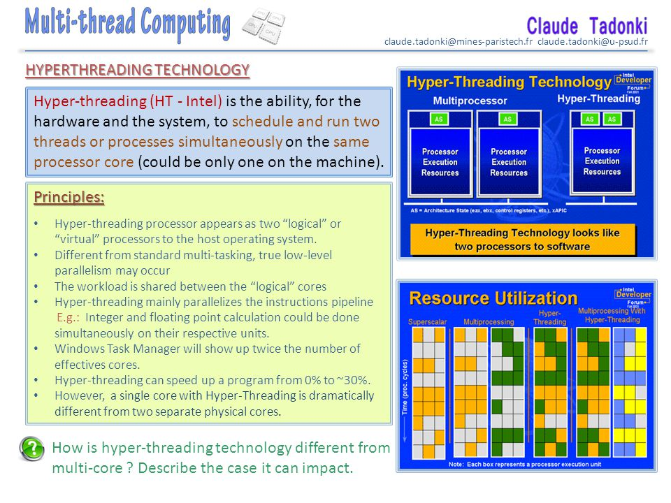 claude.tadonki@mines-paristech.fr claude.tadonki@u-psud.fr HYPERTHREADING TECHNOLOGY Hyper-threading (HT - Intel) is the ability, for the hardware and