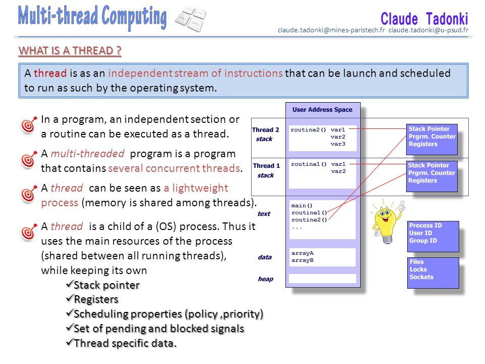 claude.tadonki@mines-paristech.fr claude.tadonki@u-psud.fr Basic threaded program