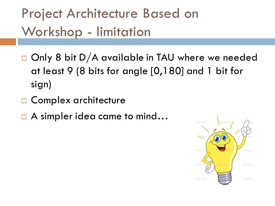 Project Architecture Based on Workshop - limitation  Only 8 bit D/A available in TAU where we needed at least 9 (8 bits for angle [0,180] and 1 bit f