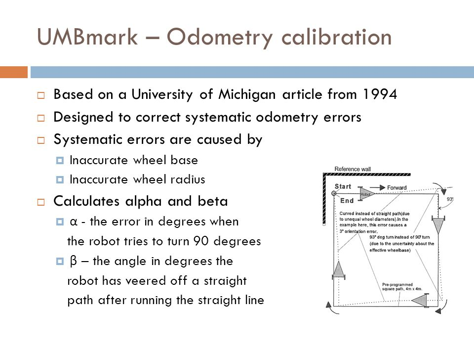 UMBmark – Odometry calibration  Based on a University of Michigan article from 1994  Designed to correct systematic odometry errors  Systematic errors are caused by  Inaccurate wheel base  Inaccurate wheel radius  Calculates alpha and beta  α - the error in degrees when the robot tries to turn 90 degrees  β – the angle in degrees the robot has veered off a straight path after running the straight line