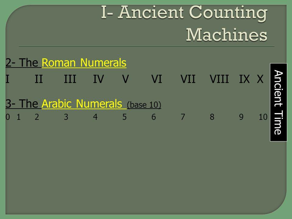 2- The Roman Numerals IIIIIIIVVVIVIIVIIIIX X 3- The Arabic Numerals (base 10) 0 123456789 10 Ancient Time