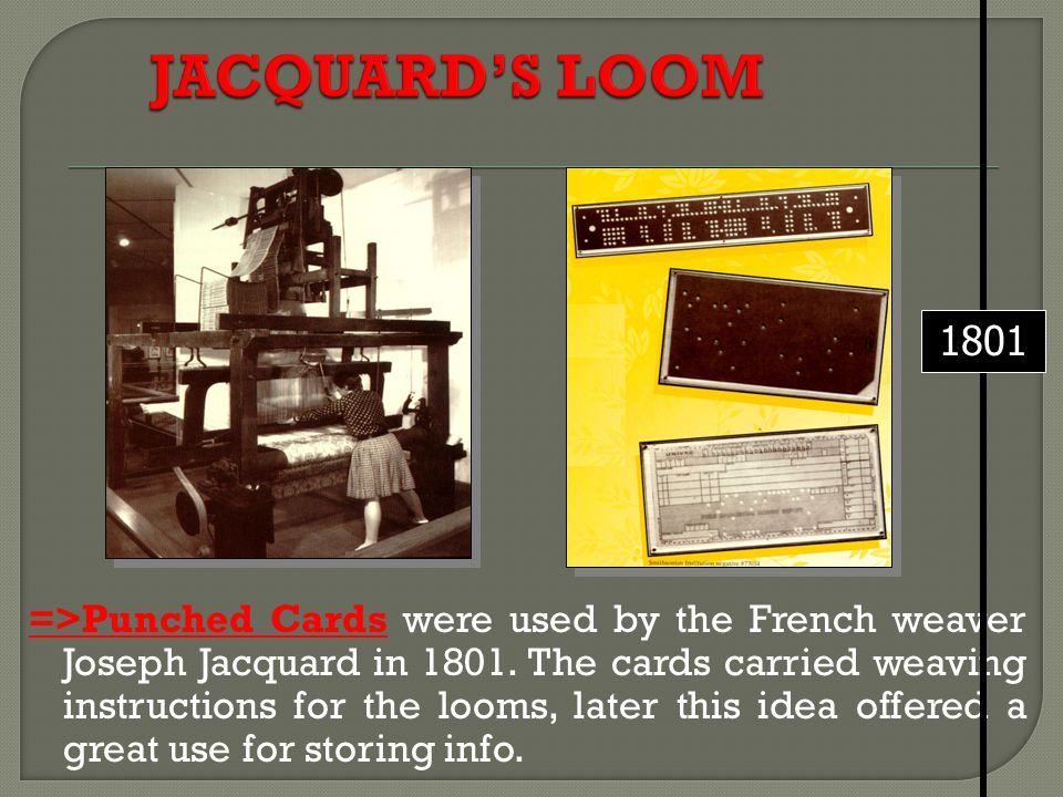 =>Punched Cards were used by the French weaver Joseph Jacquard in 1801. The cards carried weaving instructions for the looms, later this idea offered