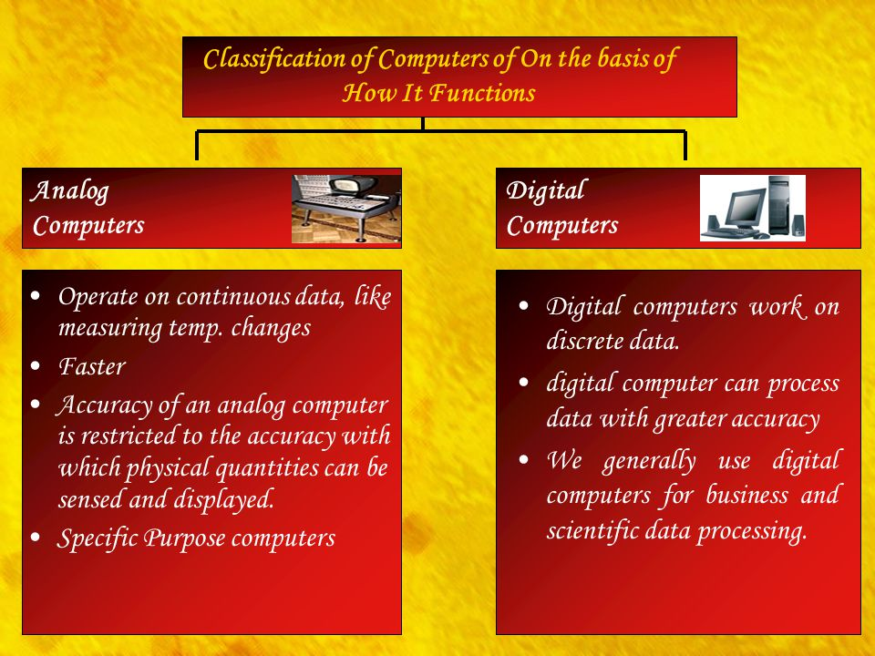 Digital Computers Analog Computers Classification of Computers of On the basis of How It Functions Operate on continuous data, like measuring temp. ch