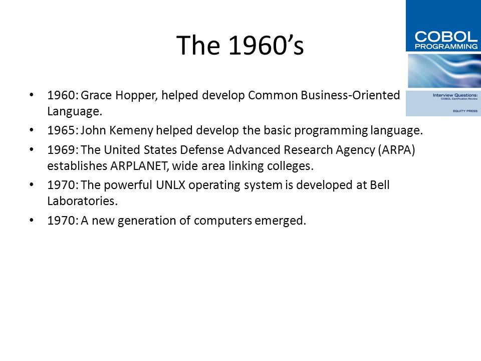 1970's part 1 1971: Ted Hoff develops the Intel 4004 microprocessor.