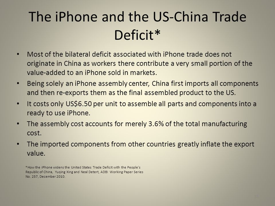 The iPhone and the US-China Trade Deficit* Most of the bilateral deficit associated with iPhone trade does not originate in China as workers there contribute a very small portion of the value-added to an iPhone sold in markets.