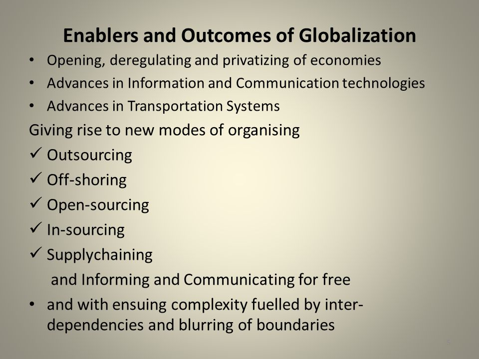 5 Enablers and Outcomes of Globalization Opening, deregulating and privatizing of economies Advances in Information and Communication technologies Advances in Transportation Systems Giving rise to new modes of organising Outsourcing Off-shoring Open-sourcing In-sourcing Supplychaining and Informing and Communicating for free and with ensuing complexity fuelled by inter- dependencies and blurring of boundaries